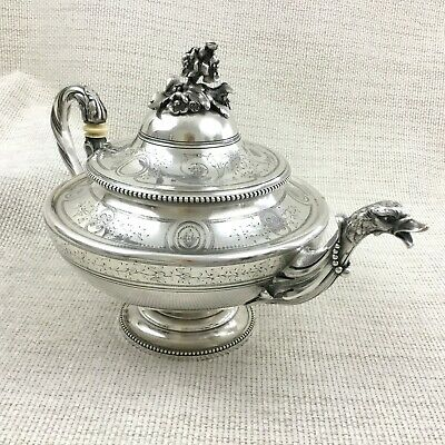 Christofle Silver Plate Teapot Antique French Empire Napoleon III Duck Spout