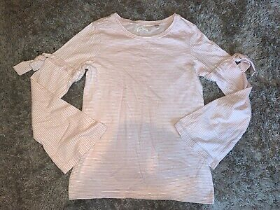 Girls Clothes next pink/cream stripy top age 6-7 years