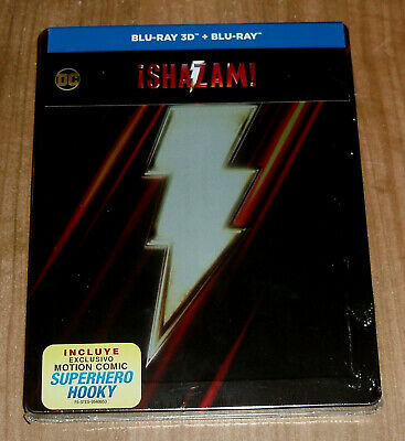 Shazam Blu-Ray 3D+Blu-Ray Steelbook New Sealed Action (Unopened) R2