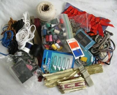Vintage LOT of Sewing-Craft Notions-Junk Drawer-Buttons-Cord-pins&needles-zipps