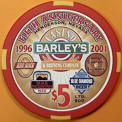 $5 Casino chip. Barley's, Henderson, NV. 5th Anniversary 2001, LTD 500. O74.