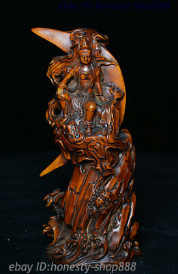 6 China Exquisite Boxwood Hand-Carved Sit Moon Free Guan Yin Boddhisattva Statue