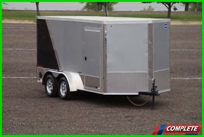 IN STOCK 7x14 V-Nose Enclosed Cargo Motorcycle Trailer: Chocks Screwless LED
