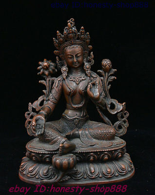 Old Tibetan Bronze Green Tara Mahayana Buddhism enlightenment Goddess God Statue