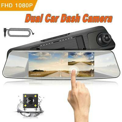 "7"" Inch HD 1080P Full Rear View Mirror Dash Car Reverse Camera Kits Double Cam"