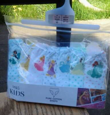 M&S Girls Daisy Princess 7 Pack Pure Cotton Briefs Age 1. 5 - 2 Years  BNWT.