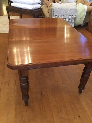 Antique Victorian Solid Walnut Dining Table With Removable Leaf Circa 1900