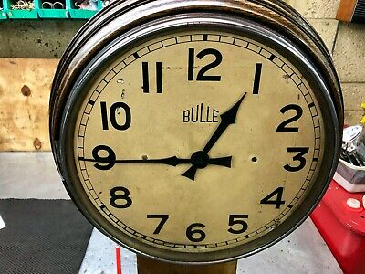 "Bulle large Round Wall Clock oak case 12"" diameter"