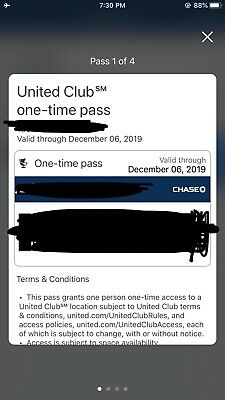 UA United Club Lounge One-Time Pass, EXPIRES December 6, 2019 Electronic