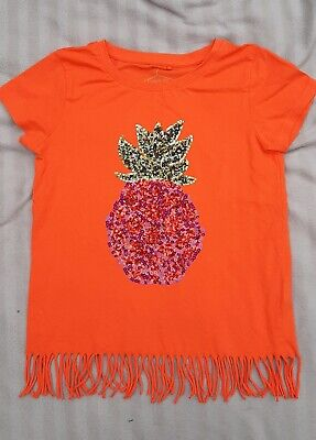 Girl's Orange sequin Pineapple print t-shirt from NEXT - aged 9 year / 134cm