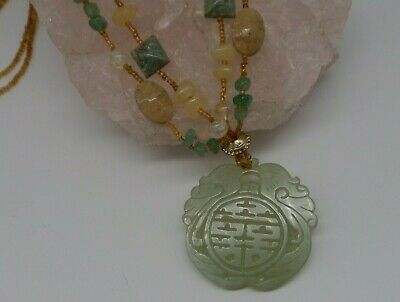 Carved Jadeite Pendant Necklace, Asian Jade Medallion Statement Necklace NWOT