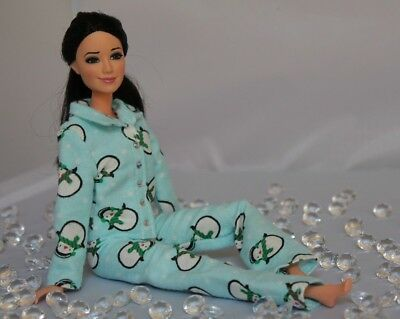 #019 Clothes for Barbie Doll. Flannel Pajamas for Dolls