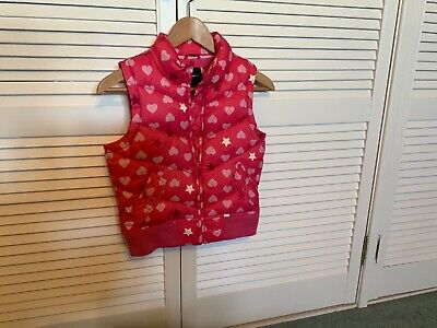 Girls  Gap body warmer, coat pink with love hearts age 10-12 years