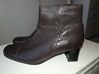 J'Aime Ladies Dark Brown Leather Ankle Boots Size 7