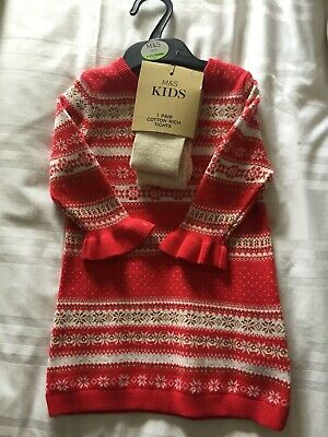 Girls 12-18 months Christmas dress Marks and Spencer new