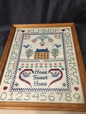 Vintage Framed Sampler Embroidery Stitchwork Needlework
