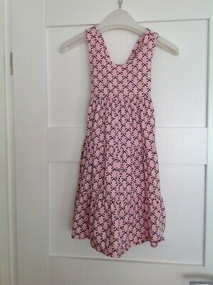 Mothercare Girls Pink Heart And Bow Sleeveless Dress Age 7-8 Cross Over Back