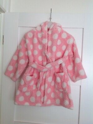 George Asda Girls Fluffy Pink Dressing Gown/housecoat  Age 3-4 Years