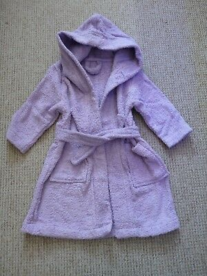 BNWT Girls hooded purple cotton bath robe dressing gown ~ Size 2-3 years