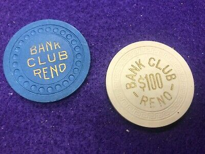 2 OBSOLETE BANK CLUB RENO $100 CREAM 1950's R7  6ISS/$25 BLUE R4 3RD ISS 1930's