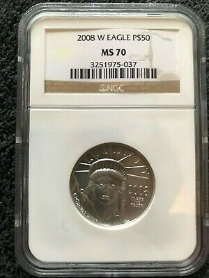 "2008-W $50 Burnished Platinum American Eagle Pcgs Ms70 King Mintage  ""Look"""