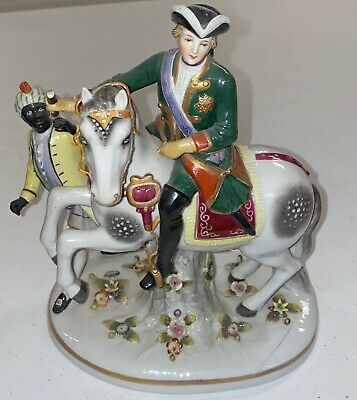 "Rare German Porcelain Blackamoor Black Man with Man On Horse Figurine 8.5"" Clean"