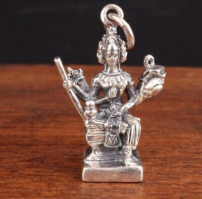 Retro China 925 Silver Pendant Statue Immortal Mascot Old Hand-Made Exorcism