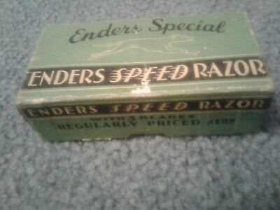 NICE ANTIQUE DURHAM ENDERS SPEED SHAVER SAFETY RAZOR IN BOX WITH BLADES - 1940's