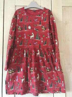 Girls Next Red Christmas dress - age 10 Years - Unicorn Penguin Reindeer