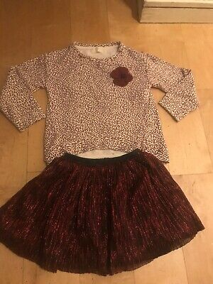 Zara Designer Girls 2 Piece Party Dress Outfit Set Top Pleat Glitter Skirt 4-5y