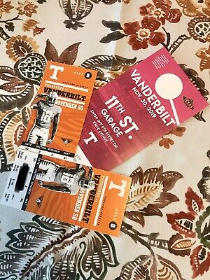 Tennessee vs Vandy Football Tickets With Parking Pass Sec II Row 2 Seats 30/31