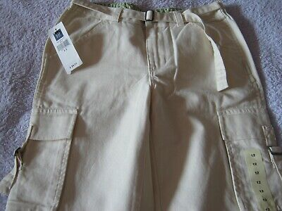 Rrp£24.50 Gap Girls White Cream Beige Cargo Trousers Age 12 Brand New