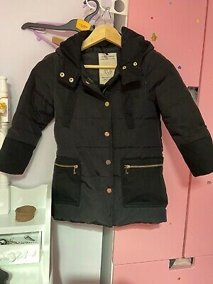 Girls Zara Down And Feathers Winter Coat Age 5-6 In Black Colour