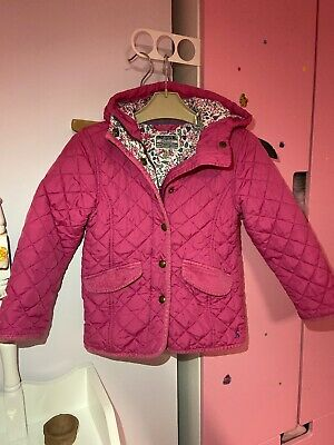 Joules Girls Coat Age 5 Years Pink Quilted Hooded
