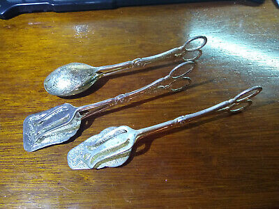 Vintage Silverplate Serving Set Salad Tongs Zinc Alloy Pastry antique Matching