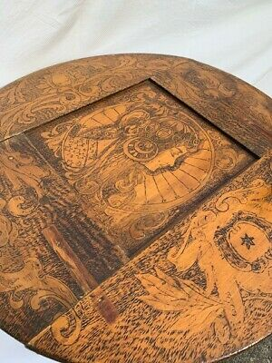 Australian Antique - unique timber etched card table, good condition