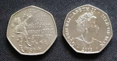 """2019 Isle of man 50p PETER PAN """"Peter Pan - All Children Except One"""" UNC"""