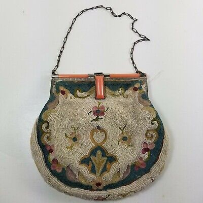 Vintage 1920s French Micro Seed Bead Hand Made Purse Bag Flapper Era  a17