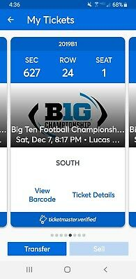 2 Big Ten Football Championship Game Tickets in section 627 row 24 on 12/7/19