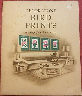 Vintage 1940s Lot of 6 Decoratone Bird Prints in Folder 12in by 10in~Vincent