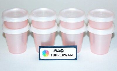 Tupperware Midgets & Smidgets Set of 8 Containers 2 & 1 oz. Travel Pink Sparkle