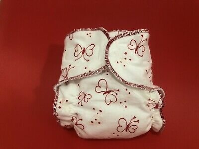 New Born Fitted Cloth Diaper Red Butterflies