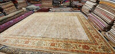 Rare Antique 1930-1940's Distressed Wool Pile Natural Dye Oushak Area Rug 7x10ft