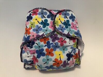 New Born Fitted cloth Diaper Blue With Flowers