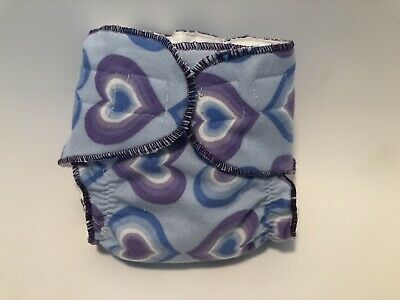 New Born Fitted cloth Diaper Blue With Purple Hearts 💜