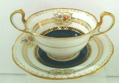 """BG. Vtg """"Aynsley"""" Bone China Soup Bowl and Saucer Made in England."""
