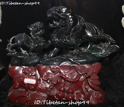 Unique Natural Green Jade Dragon Beast Double 2 Pixiu Pi Xiu Brave Troops Pair