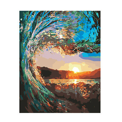 Acrylic Paint By Numbers Kit DIY Painting Drawing On Canvas Seaside Sunset