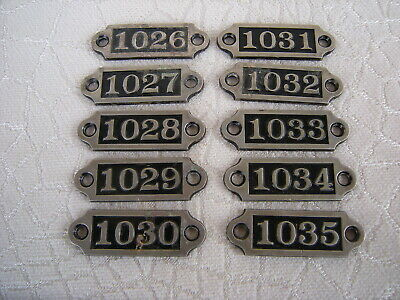 Antique Set of 10 Brass Locker Number Plates Tags Numbers in Sequence
