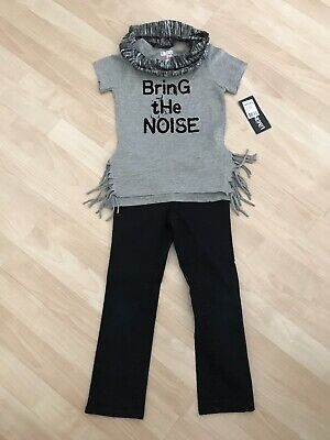 Girls Sz 5 Crazy 8 Black Jeans & NWT Limited Too Bring The Noise Top Shirt